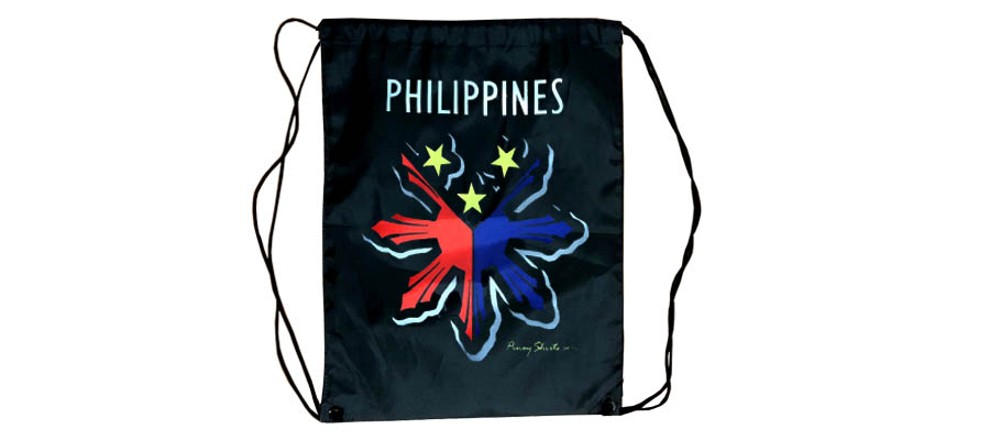 Black Nylon Philippine Drawstring Bag