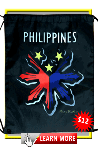 Black Philippines Drawstring Packpack Bag